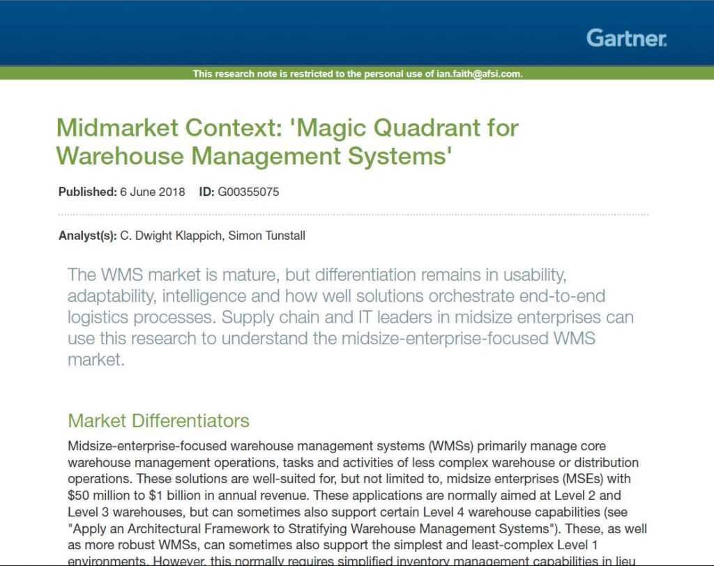 Afs Wms Recognized By Gartner In The 2018 Midmarket